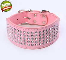 CL007 5 Rows diamond Bling Bling studded Leather dog collars