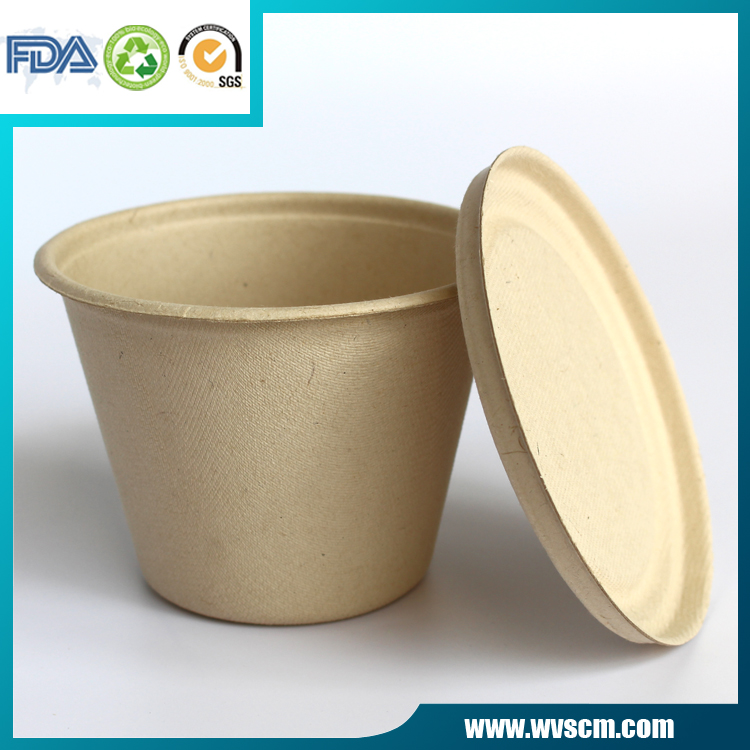 biodegradable unbleached packaging wheat pulp to go food container