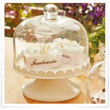 iron plate cake stand with glass cover