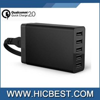 2016 Newest Intelligent Wall Charger with Quick Charge QC2.0 5 Port USB Charger with smart IC for Smartphone
