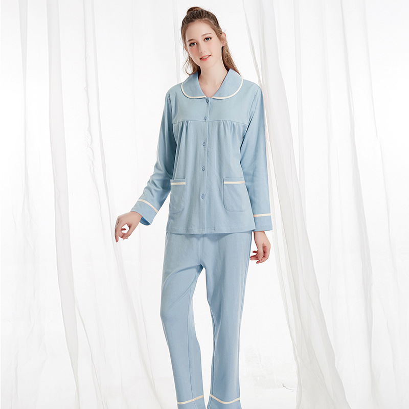 Spring Autumn Long Sleeved Cotton Women's Pajamas Set simple comfort Sleepwear fashion Pajamas Lady Home Clothing