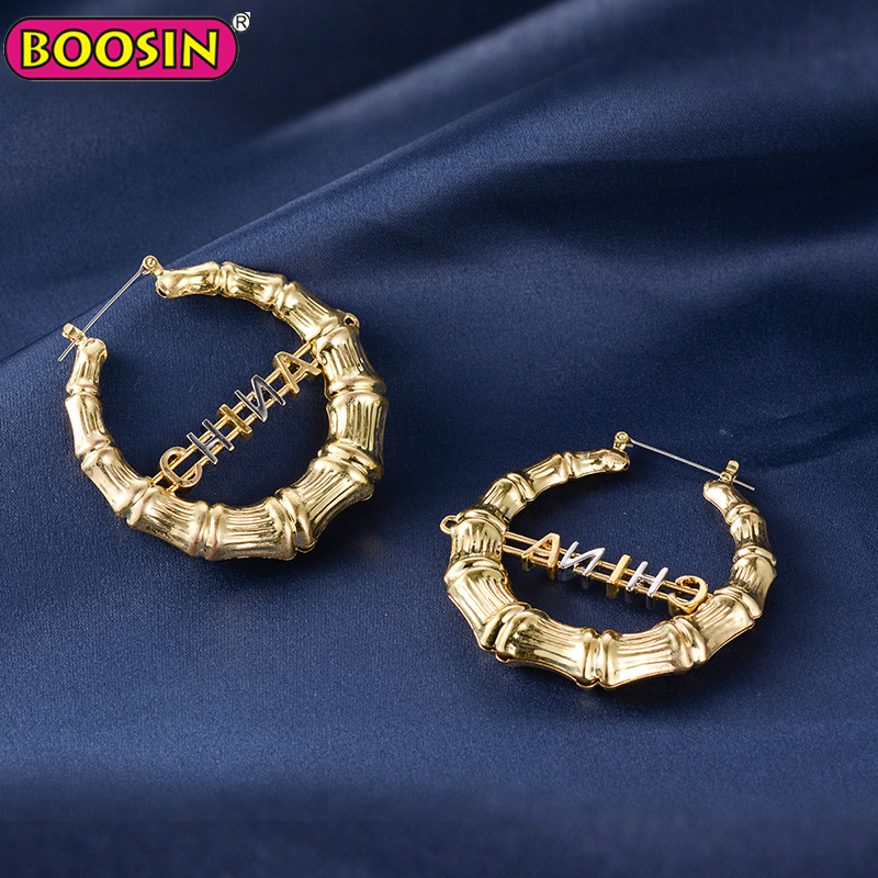 14k gold metal bohemian earrings customized hoop earring for women