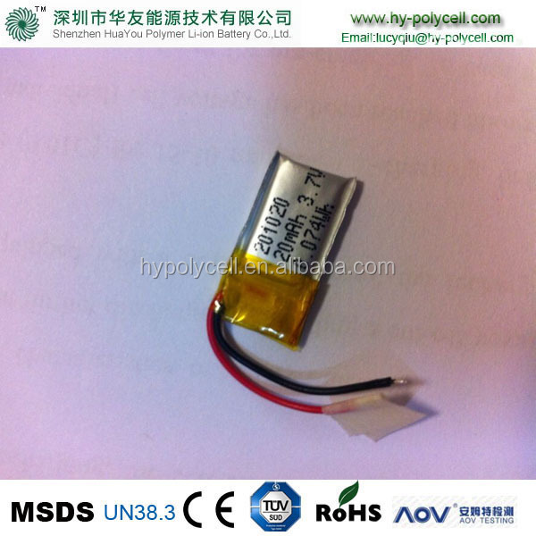 201020 20mah 3.7v ultra thin lithium <strong>battery</strong> cheap lipo