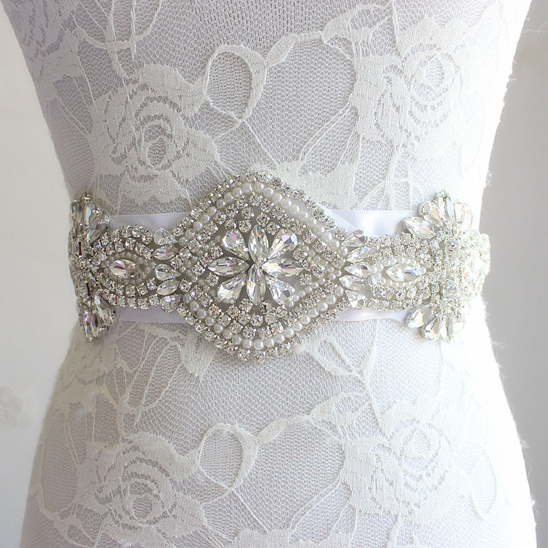 Wedding Sash, Bridesmaid Belt, Crystal Sash