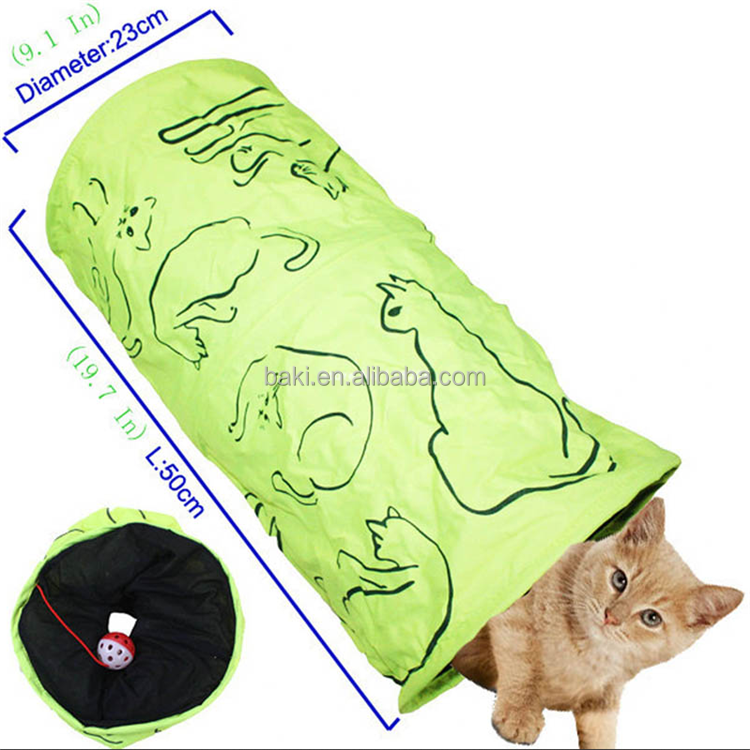 Cat Printed Green Lovely Crinkly Kitten Tunnel Toy With Ball Play Fun Toy Tunnel Bulk Cat Toys
