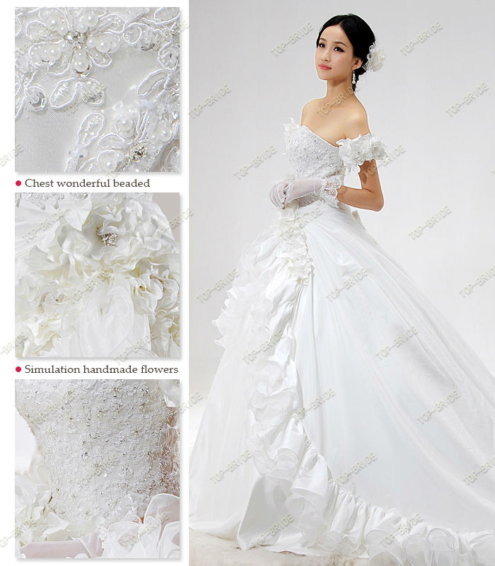 S995 Real Photos Handmade Flowers Suzhou Bridal Gown 2012 Style
