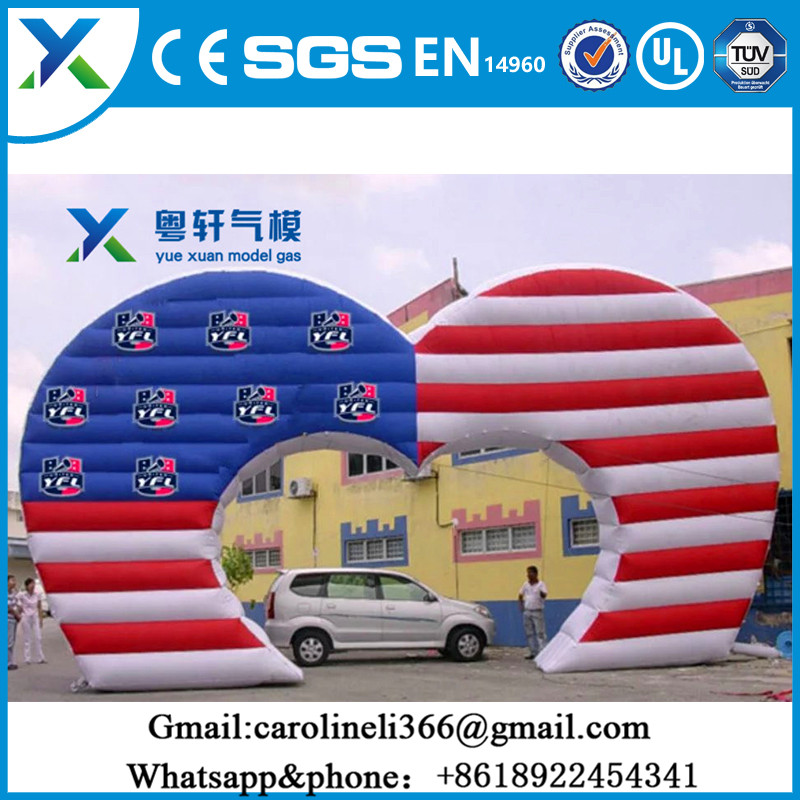 Durable Oxford cloth outside large inflatable heart shaped wedding arch for decor