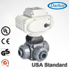 Double union connection plastic chemical resistant PVC 3 way electric ball valve with actuator