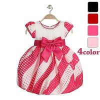 beautiful young girls in party dress short sleeve bow bubble frocks baby girls party dress for wholesale
