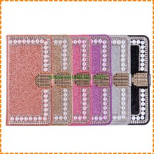 Hot Sale Pearl Glitter Bling Bling Diamond Flip Magnetic Wallet leather case for Iphone 7 plus