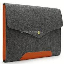 Custom microfiber leather Bottom Bag Magnetic Button Felt Laptop Sleeve