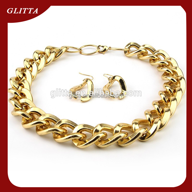 Glitta 18K Dubai new gold chain design,stainless steel gold plated necklace,gold necklace GL15553