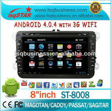 LSQ Star Wholesale Android 4.0 2 Din 8 Inch Vw And Skoda Car Stereo With Dvd/cd/bluetooth/radio/ipod/tv/gps/3g/wifi/android!