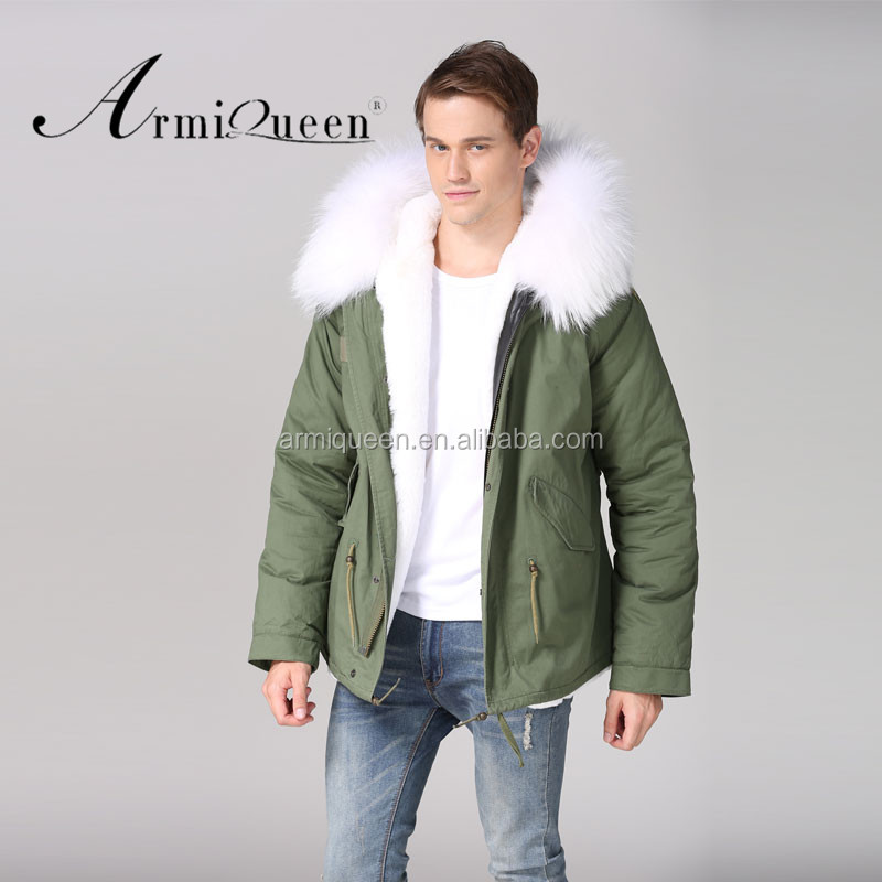 Short Style Casual Winter Mini Fur Parka White Faux Fur Lined <strong>Plus</strong> Size Mesn Fur Jacket Outerwear