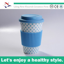12oz blue color ceramic travel coffee mug without handle with silicone sleeve and lid coffee travel mug N0005