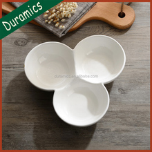 White ceramic 3 section chip and dip bowl, restaurant and hotel salad bowl
