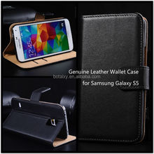 Luxury Genuine Real Leather Flip Cover Wallet Case for Samsung Galaxy S5