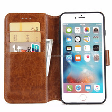 For iPhone 6 Plus 5.5'' Leather Case With Card Holder Magnetic Stand Wallet Case Detachable