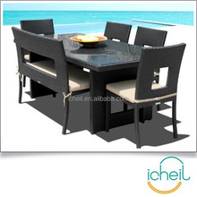 Outdoor Patio Wicker Furniture New All Weather 6-Piece Dining Table Chair /Bench Set