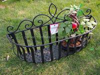 decorative outdoor garden basket plant pot rack holder metal flower box wrought iron window planters