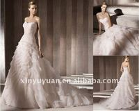 Hot! 2014 Pink A Line Sweetheart Off Shoulder Strapless Tiered Princess Gown Wedding Dress GC006 Dresses