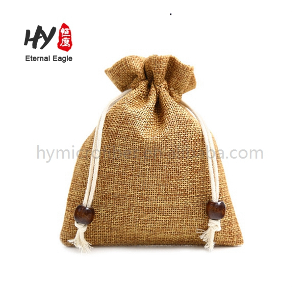 Customized made portable colored linen pouches with ribbon