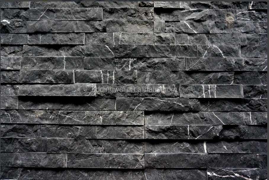 Factory new black color with natural face marble cultured stone for wall cladding and interior or exterior decoration