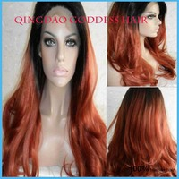fashion wavy brazilian hair ombre AUBURN glueless lace front human hair wig wet and wavy human hair wig sk-66 hair aliexpress uk