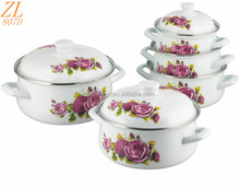 807D Belly Shape Cookware With Hollow Handle Enamel Casserole Set Accessories For Women