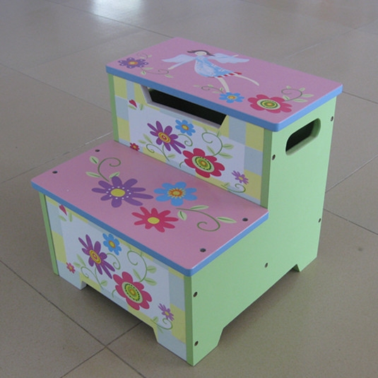 2 step stool MDF kids wooden step stool with storage
