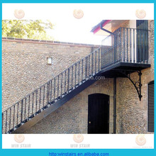 exterior metal stair/wrought iron straight stairs/outdoor straight staircase with platform
