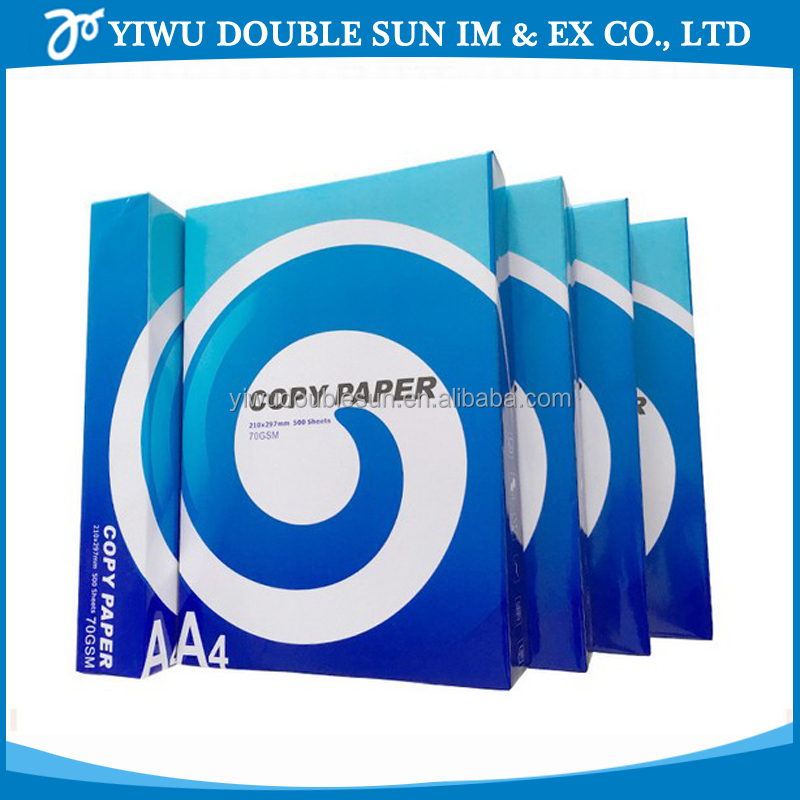 Best price 100% Virgin Wood Pulp 102-104% brightness white color A4 copy paper 70gsm