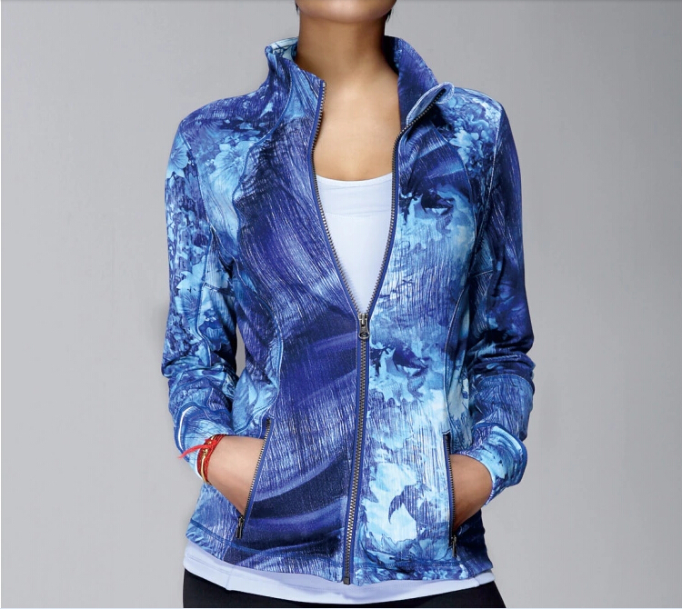 polyester / spandexfitness custom shaped printed yoga jackets