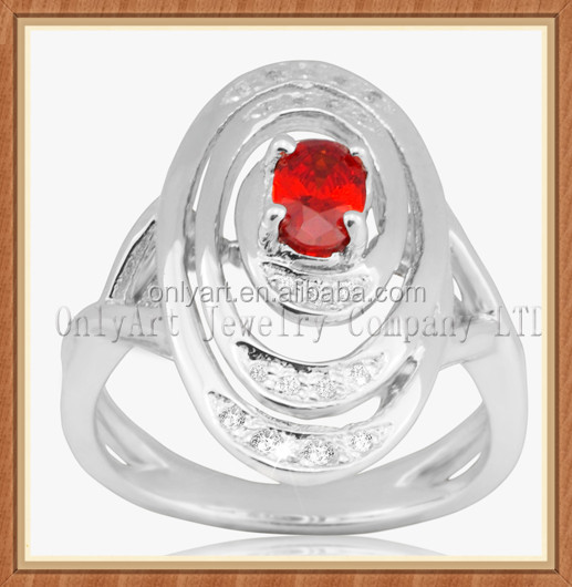 Custom rhodium plated shiny polish 925 sterling silver ring with red AAA CZ prong setting