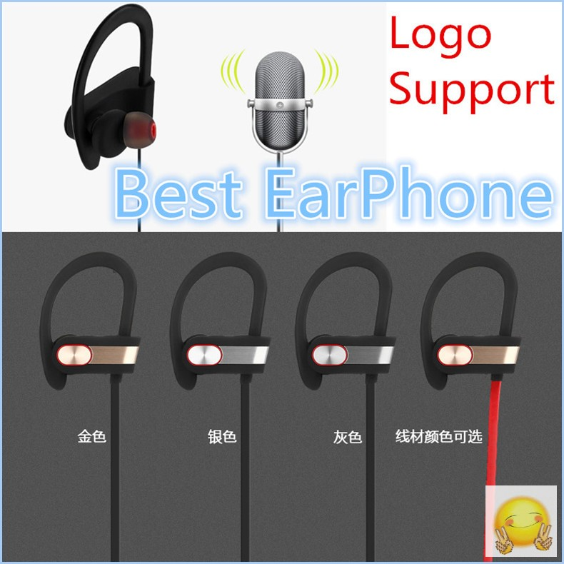 Logo Support Bluetooth Earphones Q7 V4.1 Wireless Sport Stereo In-Ear Noise Cancelling Sweatproof Headset Metal Texture