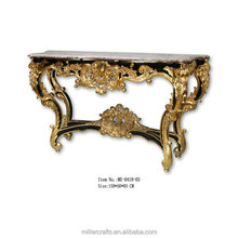 Antique gold and black marble top luxury console table