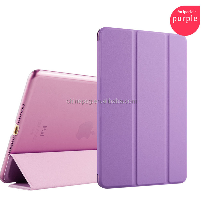shockproof ultrathin three fold pu leather case for ipad air 2 for ipad 6 hard case