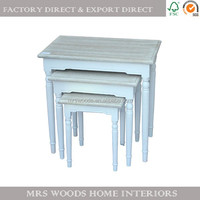 white painted nest corner table furniture