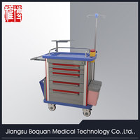 multi-function five drawers aluminum columns crash trolley