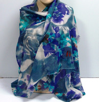 Ethic Look Unique Flower Pattern Printed Soft Wool Laides Wrap Shawl
