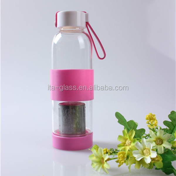 450ml custom logo wholesale portable mineral water tea making reusable outdoor sport travel drinking glass infusion bottle