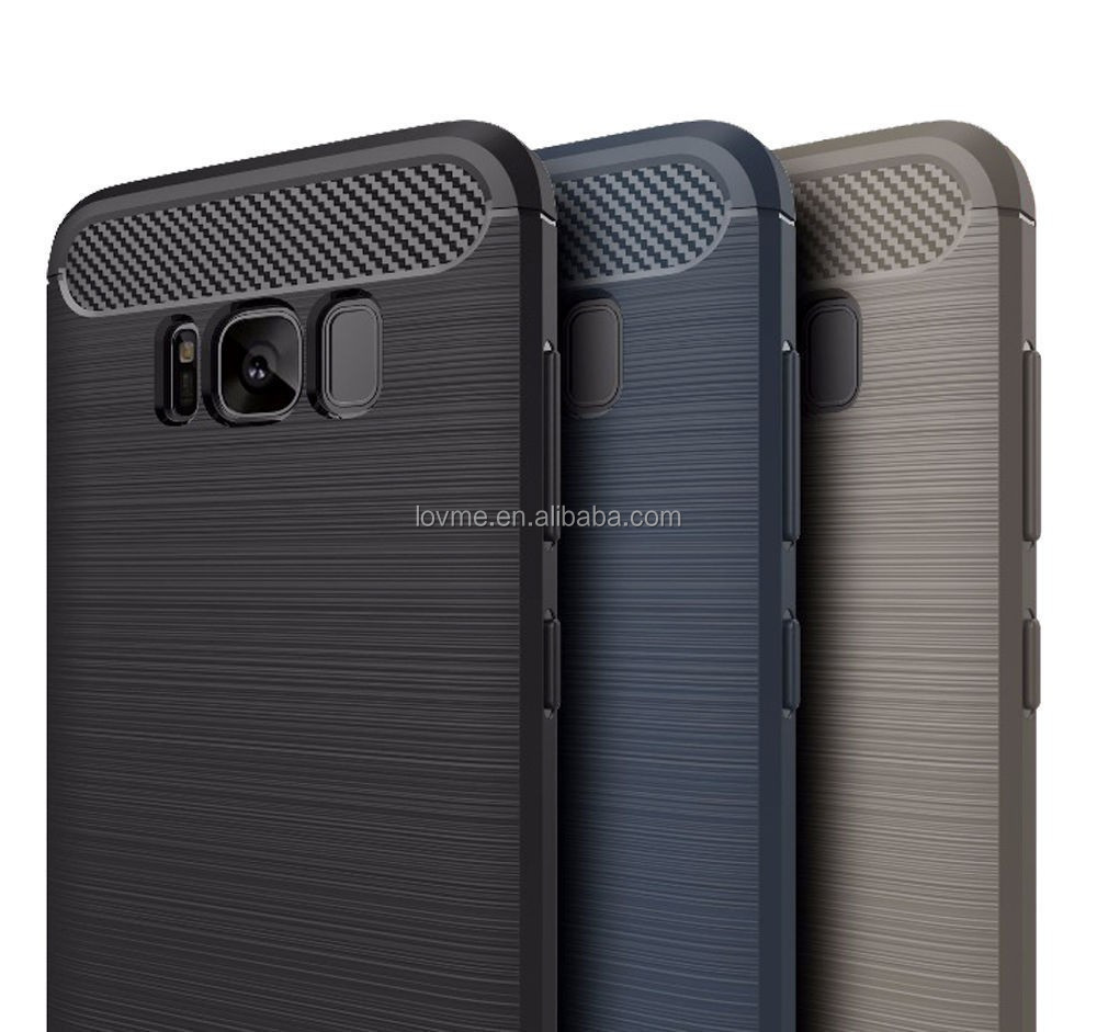 Full protective ultra slim MOQ 50 shockproof brush tpu carbon fiber phone case for samsung galaxy s8