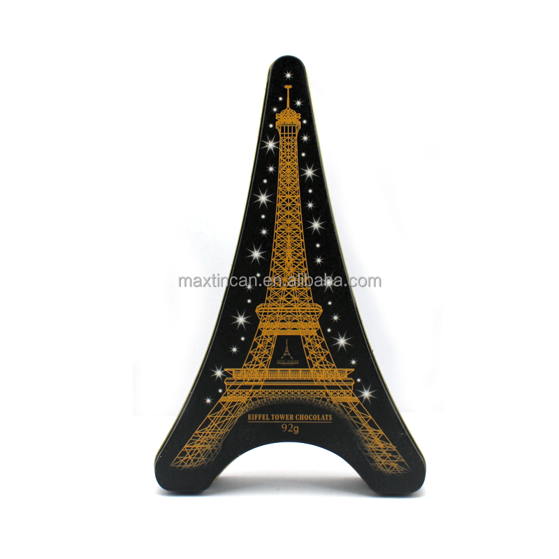 Tower Shaped Chocolates Gold Candy Tins