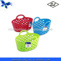 "13"" plastic storage tote shopping basket with 2 handles"