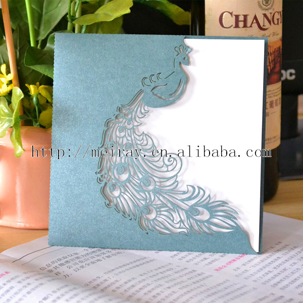 peacock wedding cards,laser cut party favors wine glass place cards