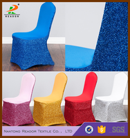 wedding sequin decorative glitter spandex/lycra/stretch chair covers cover with satin back for banquet chairs decoration