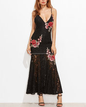 OEM Service Sexy Embroidered Rose Applique Overlay Fishtail Cami Dress Pictures Of Latest Long Gown
