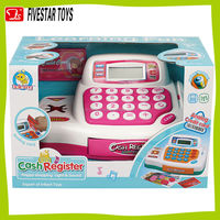 Plastic supermarket pretend cash register toys for kid with sound and light educational toy cash register