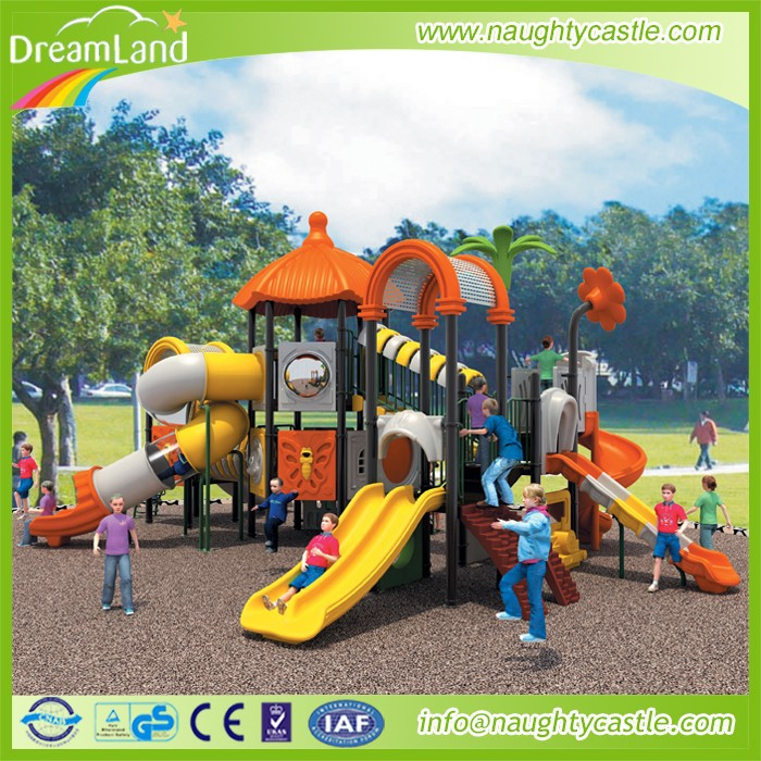 2015 outdoor playground sets fitness equipment sports orange and yellow plastic slide