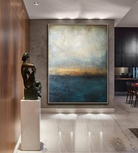 big size picture blue sea scenery with golden foil framed handmade 3D wall art Oil Painting